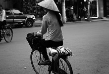 Girl on a Bike in Hanoi City, Vietnam